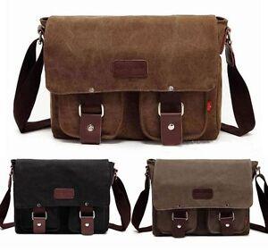 Men-039-s-Vintage-Canvas-Leather-Shoulder-Messenger-Bag-Tool-School-Bag-Satchel-101