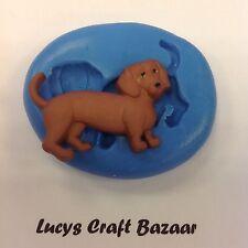 Silicone Mould Sausage Dog Dachshund Sugar craft Cupcake Topper FlowerPaste Fimo
