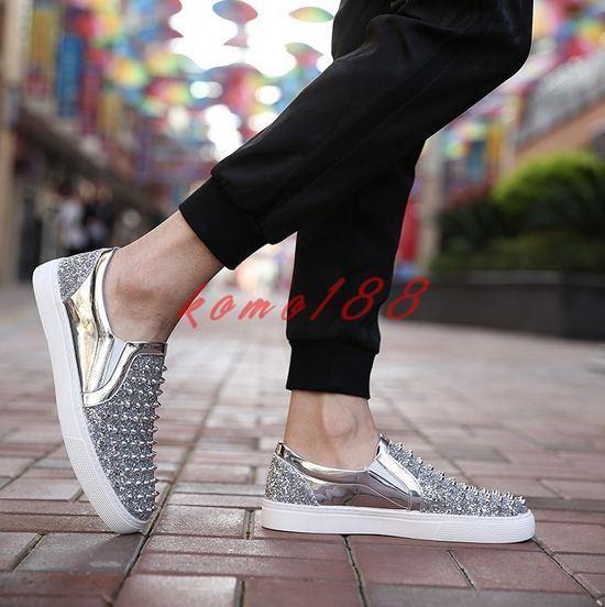 Fashion Men's Spike pointy Punk loafer slip on rivet studded casual dress shoes