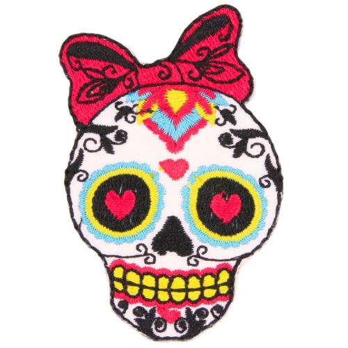 Sugar Skull Bow Emo Kitsch Embroidered Iron Sew-On Patch Badge Motif UK Seller