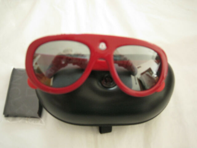 7d5cba9ccf1da Moncler Blanche 55mm Modified Aviator Acetate Sunglasses Red for sale online