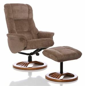 The Mandalay Swivel Recliner Chair In Mink Fabric Amp Cherry