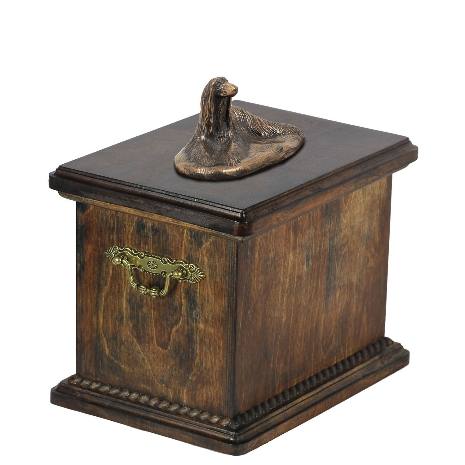 Afghan Hound - wooden urn with dog statue, Art Dog type 1