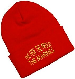 USMC Marine Corps Knit Watch Cap Beanie FEW PROUD Embroidered Red ... 10add2133825