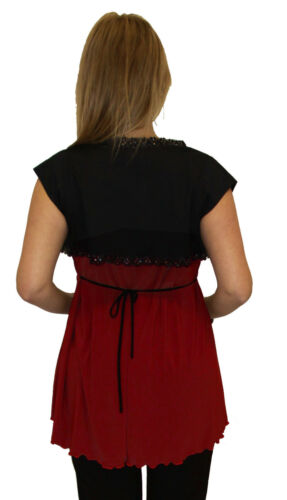 Burgundy Short Sleeve Two Piece Black Cover Up Pregnancy Wedding Pregnant Blouse