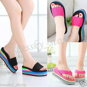 c4256a4c1cefd Women Sandals Platform Rainbow Non-Slip Wedge Summer Beach Slippers ...