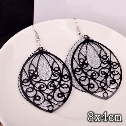 1 Pair Women Fashion Alloy Geometric Long Earrings Ear Hoops Stud Jewelry Gifts