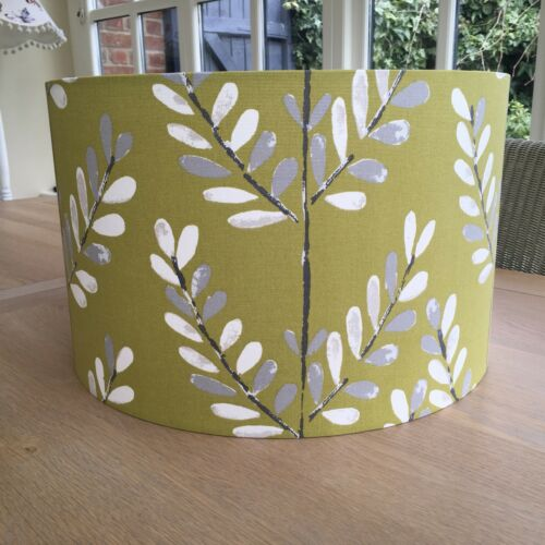 Handmade lampshade ILIV Scandi Sprig Fabric Leaves Leaf kiwi olive green grey