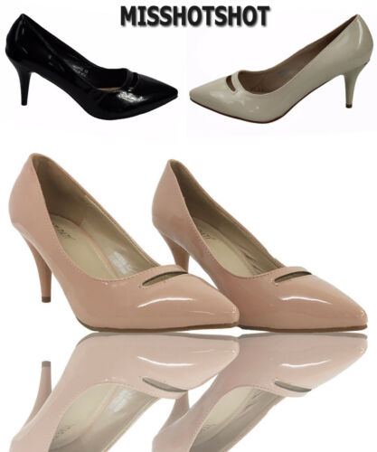 Leona Women/'s Low Mid Heels Slip On Court Shoes Ladies Pumps Party Work Size New