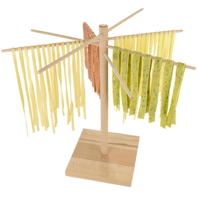 Pasta Drying Rack Natural Beechwood Collapsible Wooden Italian Food Noodle Stand