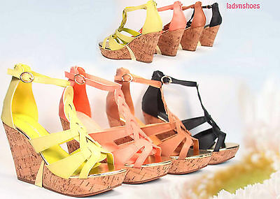 Fashion Zipper Strappy Open Toe Wedge Platform Sandal Shoes Size 5.5 - 11 NEW