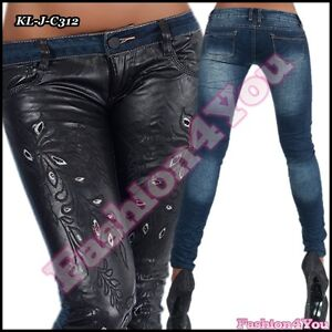 6dda22b4e211e Sexy Womens Skinny Jeans Ladies Leather Look Jeans Trousers Size 6