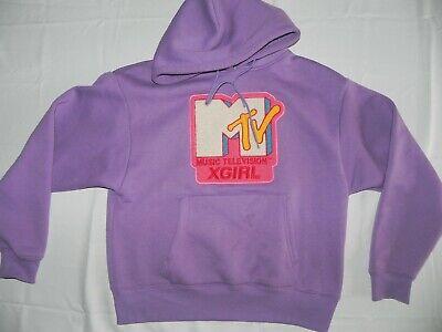 X-girl & Mtv Felpa Con Cappuccio Top Vintage 90s Maglione Lilla Di Kim Gordon-sonic Youth-mostra Il Titolo Originale Rimozione Dell'Ostruzione