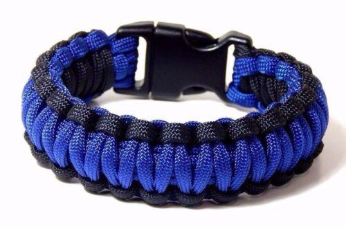 Premium 5//8 550-Paracord-survie-Bracelet fine-Bleu-Line-Police boucle-US-made