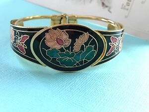 Image Is Loading Vintage Cloisonne Bracelet Enamel Flower Hinged Cuff Bangle