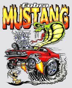 Ford-Cobra-Mustang-Gasser-Drag-Car-Cartoon-Bumper-Sticker-or-Fridge-Magnet