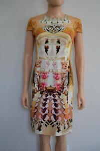 us bloemenprint Mary zijden veelkleurige Katrantzou 6 goud grafische jurk Sz x8U86Tqw