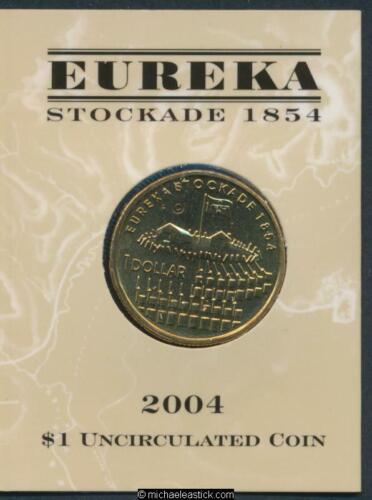 """2004 Australia $1 Eureka Stockade 1854 Unc Coin /""""C/"""" Mark"""