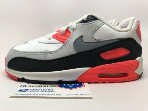 Nike Air Max 90 Toddler White//Infrared-Black 1 95 97 atmost sz 6c-10c New!