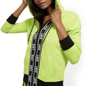 """Women's NY&CO Green """"Love"""" Hooded Zip-Front Jacket Size M"""
