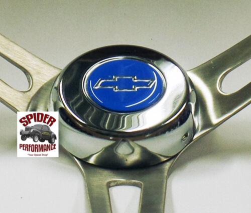 """1966 Malibu Chevelle steering wheel BLUE BOWTIE 15/"""" WALNUT MUSCLE CAR wheel"""