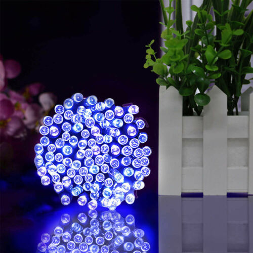 12-52m Solar Fairy Warm White//Blue LED String Lights Party Indoor Outdoor Garden