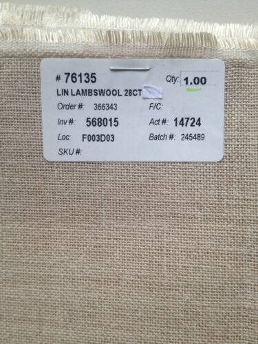"""Wichelt Imports 28 count linen Lambswool 18/"""" x 28/"""" cross stitch"""
