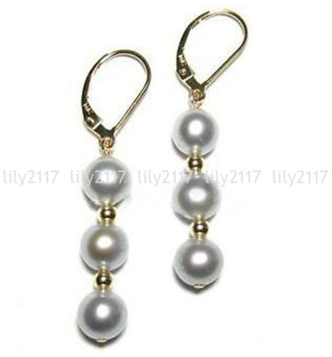 8//10mm Round Gray South Sea Shell Pearl plaqué or Leverback Dangle Boucles d/'oreilles AA
