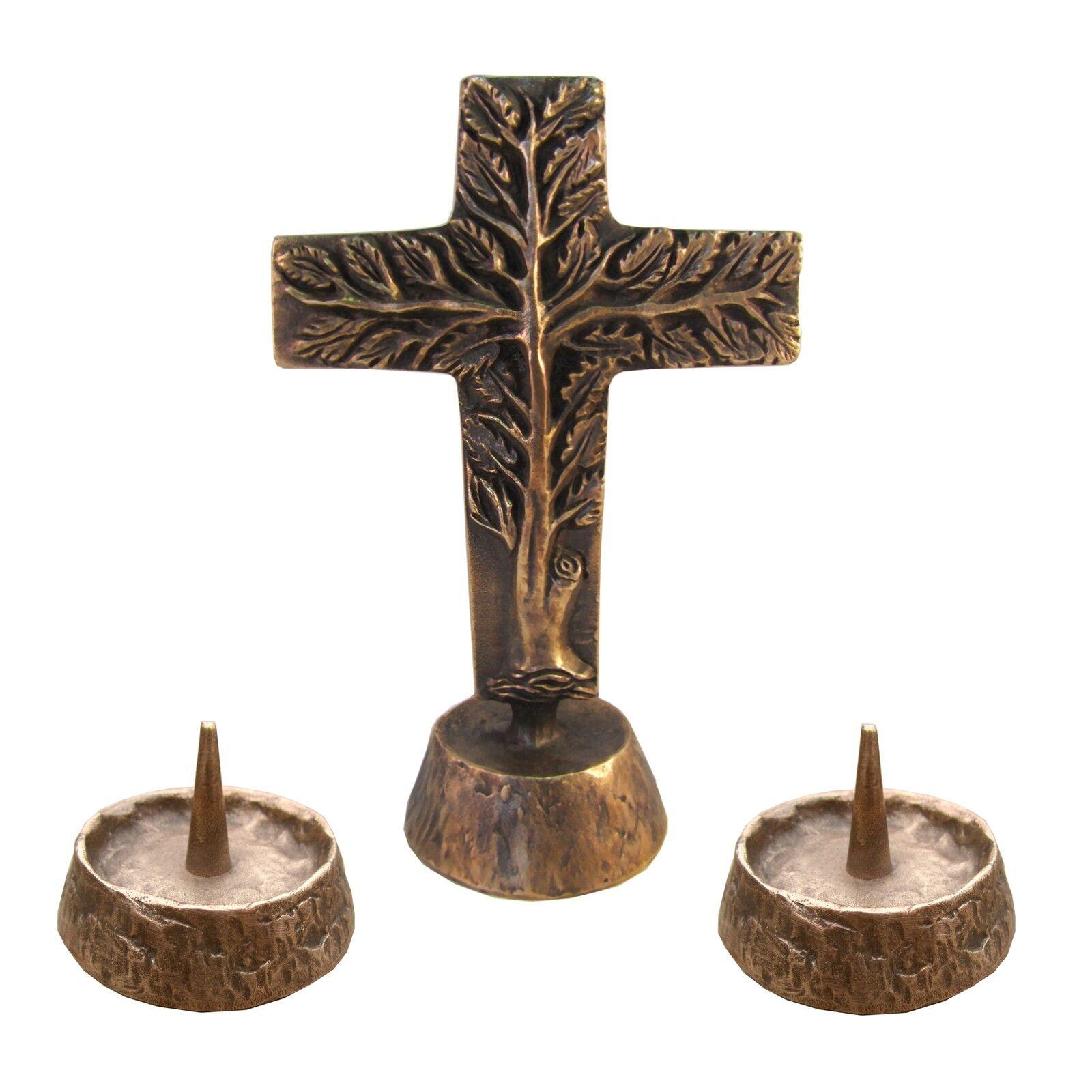 Versehgarnitur Bronze Stehkreuz Lebensbaum doppelseitig 17 cm  2 Leuchter