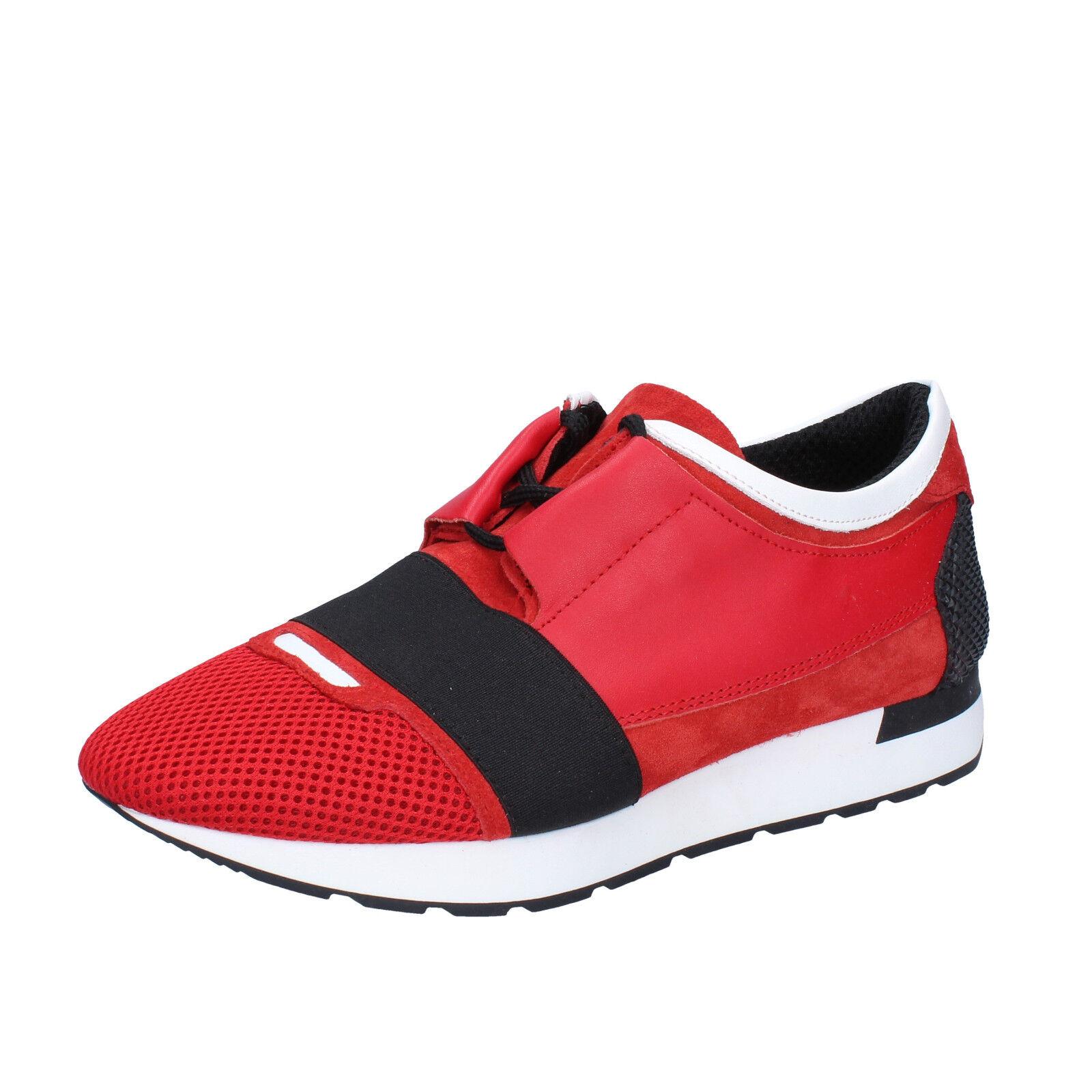 Mens zapatos SALVO FERDI 8 (EU 42) zapatillas negro rojo suede leather BZ616-C