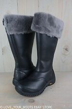 4e9aab6fc54 UGG Miko Black Leather Fur Trim Waterproof Knee High Womens BOOTS US ...