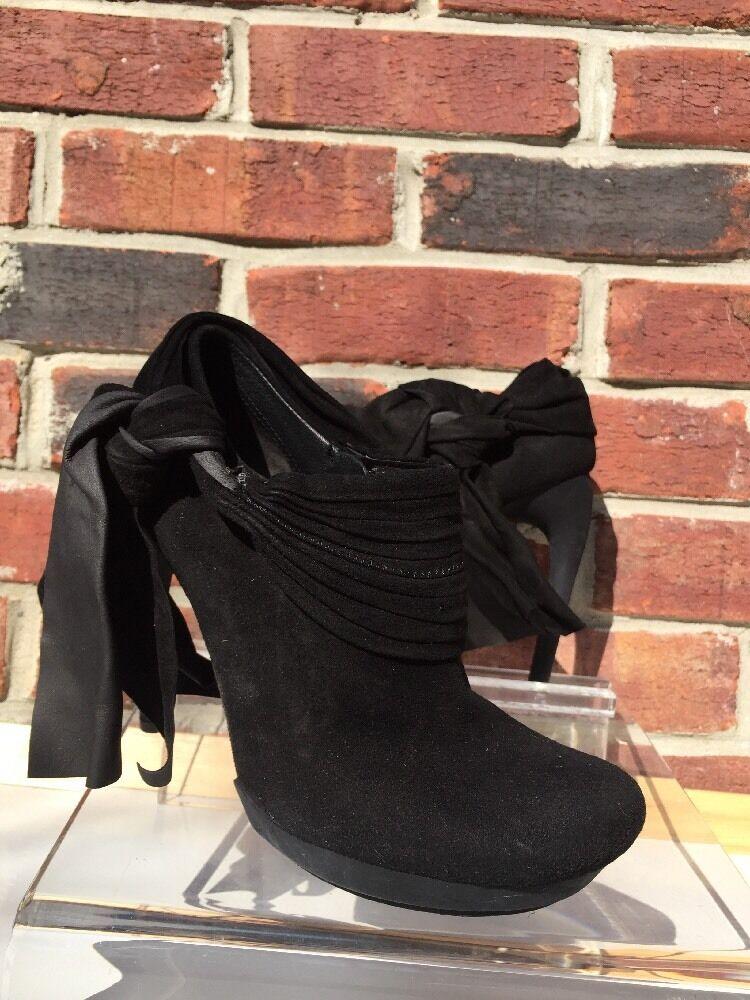 BALENCIAGA Booties Boots BOW Black Suede Heels Matte Black 36 6 Italy* Barney's!
