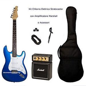 Kit Chitarra Elettrica Stratocaster Blu Amplificatore Marshall e Accessori