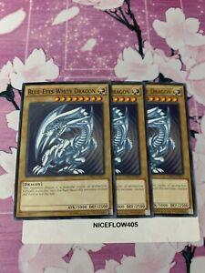3x Yugioh Blue Eyes White Dragon Common Card Playset NM SDK Art