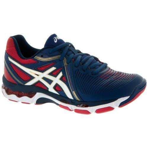 Asics Gel Netburner Ballistic Women's B557Y.5201 Blue/White/Red Volleyball Shoes Brand discount
