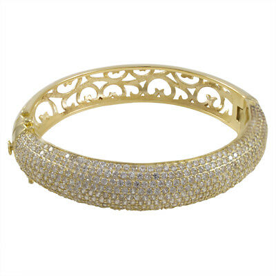 Sterling Silver White Pave CZ Womens Chunky 60mm Bangle
