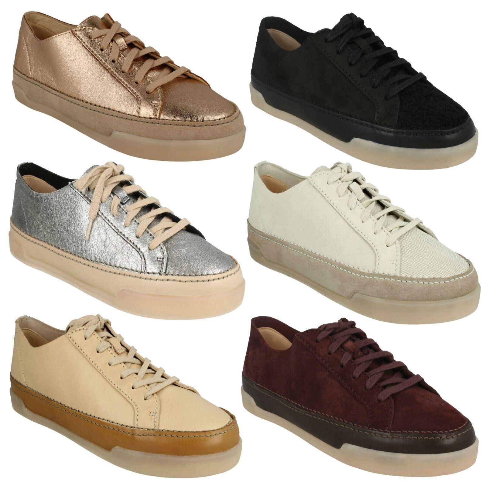Hidi holly femmes clarks en cuir plates à lacets escarpins baskets casual chaussures de sport