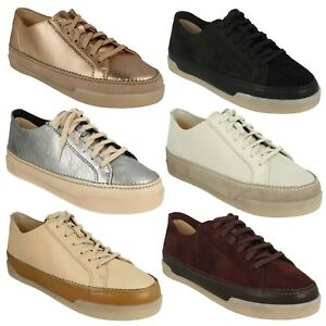 LACE TRAINERS LADIES CLARKS HIDI UP LEATHER CASUAL PUMPS HOLLY FLAT TAwqX6