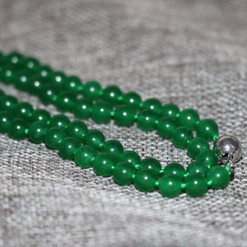 "Pierre Naturelle Vert Jade Calcédoine 8 mm Perles Rondes Collier Tour de Cou 18/"""