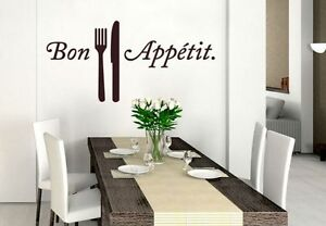 Aufkleber Wandtattoo Bon Appetit Küche Wanddeko schwarz 40x60 cm ...