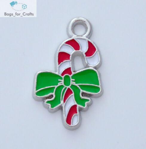 EC6 5 X Esmalte Candy Cane Rojo Verde Encantos Colgantes Navidad Navidad 24mm plata