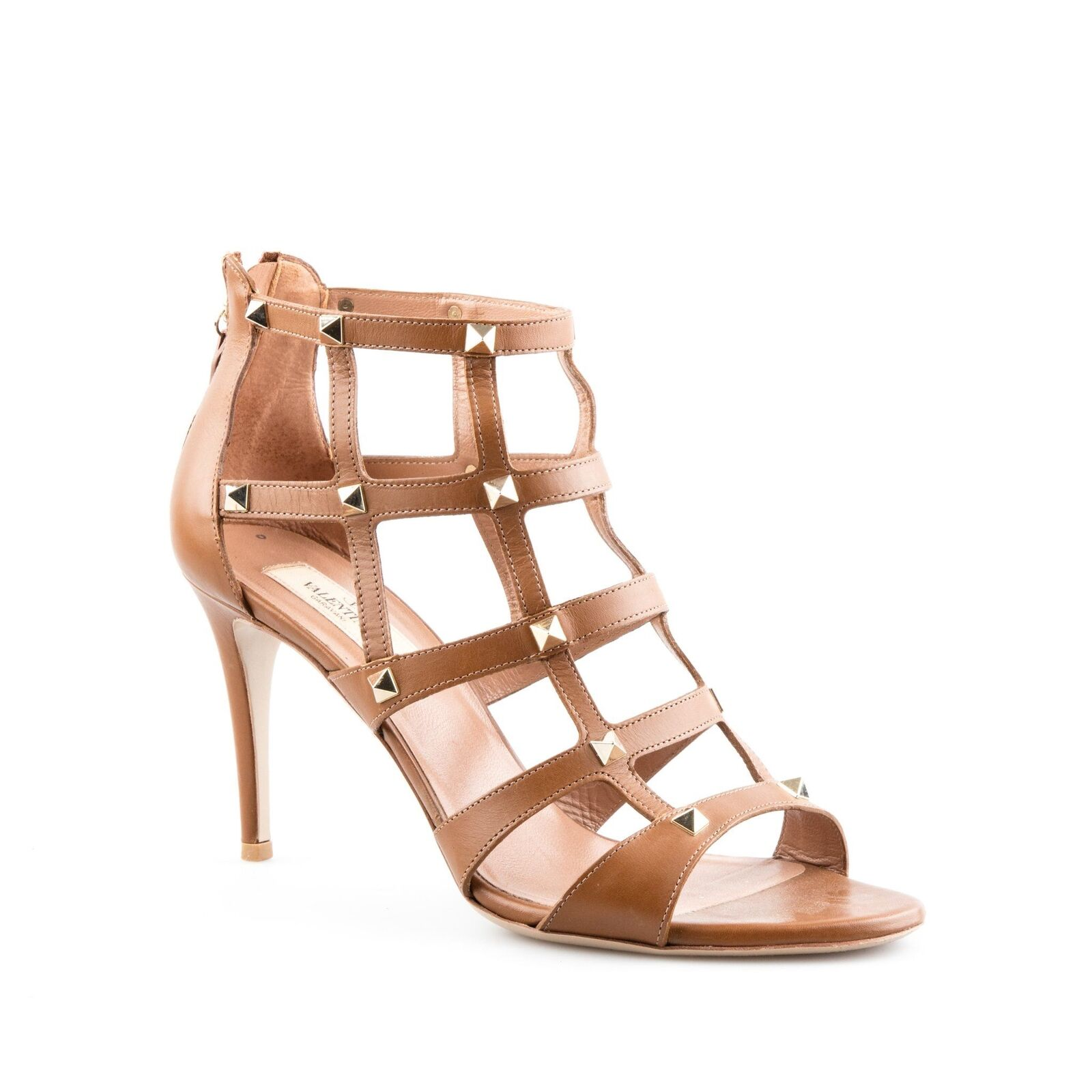 Valentino Brown Leather 'Rockstud' Mid-Heel Caged Sandals Size - Size Sandals 40 ddb6b0