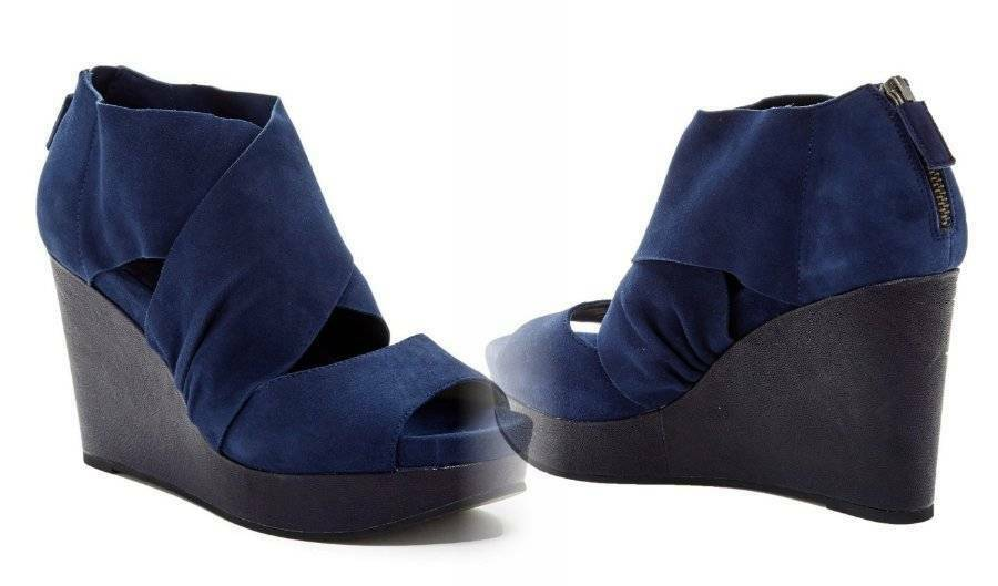 260 Eileen Fisher Draw Suede Wedge Sandal 8 Midnight bluee SOFT Wide Straps NIB