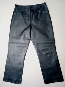 FOR-WOMEN-Black-REAL-LEATHER-TROUSERS-PANTS-M-uk14eu40us10-Waist-w31ins-w79cms