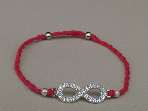 Infinity Silver Metal Charm Red String Rope Bracelet Adjustable Handcrafted
