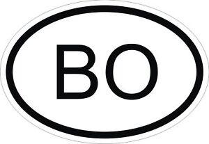 BO-BOLIVIA-Codigo-Pais-Pegatina-Ovalada-Parachoques-Pegatina-Coche