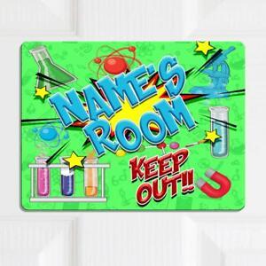 Personalised Door Name Plaque Science Lab Girls Boys Kids Bedroom Room Sign Kd68 Ebay