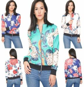 a2244c01 Image is loading Womens-Floral-Print-Zipper-Bomber-Jacket-Ladies-Fancy-