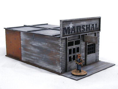 Old West Cowboy Building SHERIFF'S OFFICE with CELLS 25mm, 28mm Terrain, D045