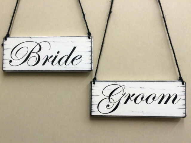 shabby n chic wedding  BRIDE & GROOM  hanging signs vintage style